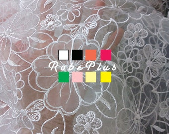 Floral Embroidered Organza Lace Fabric with Applique - Appliqued Floral Lace - White Lace Fabric - White Organza Fabric - 10 Colors - 13
