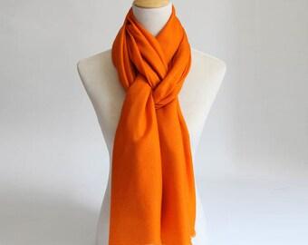 Large Orange Wool Cashmere Blend scarf- Large black Wool Scarf-Orange Premium Wool Scarf - Black Wool Shawl - BS2014