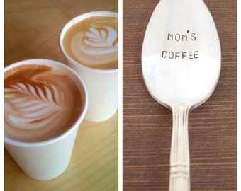 Mother's Day Gift, Handstamped Coffee Spoon, Gift Under 20, Personalized Gift, mom's coffee, funny spoon