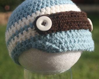 Crochet Baby Boy Button Strap Hat with Brim