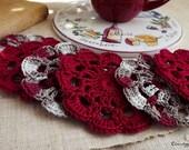 Coasters Crochet Set of 6 pcs. Red Cotton - ChronologyOfCrochet