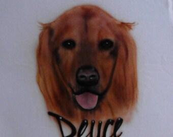 Custom airbrushed pet/animal portrait on a sweatshirt