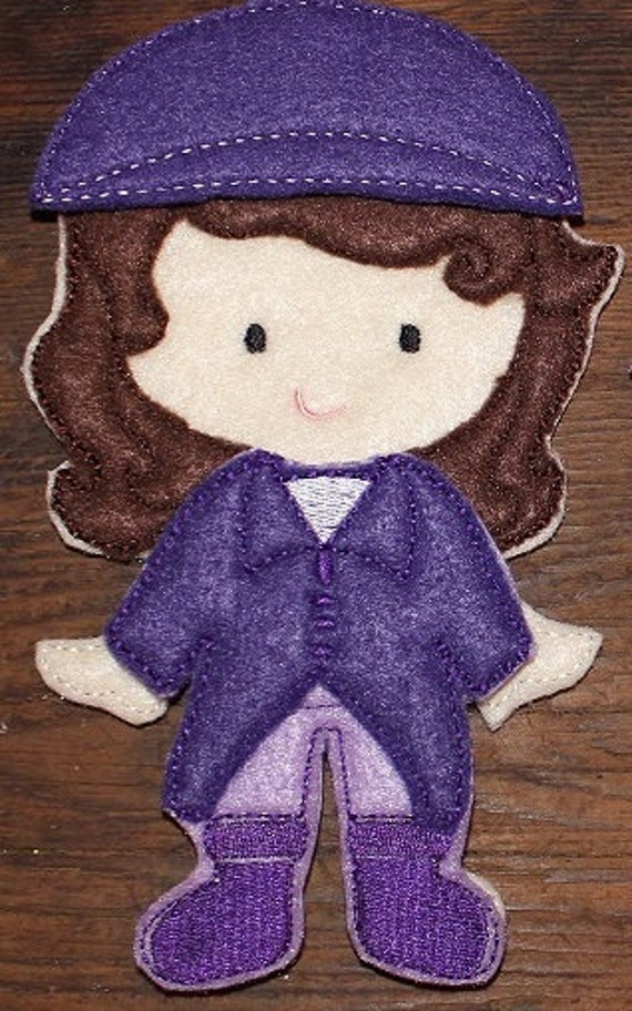 Sofia First princess inspired felt unpaper doll with riding outfit