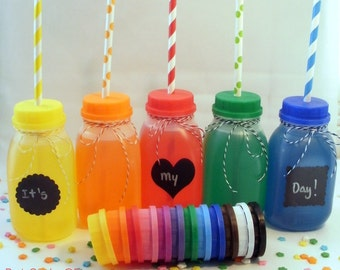 25 Milk Bottles and Lids with Straw Holes, including labels perfect for parties