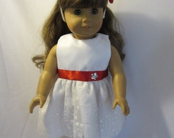 White snowflake holiday dress for AG dolls
