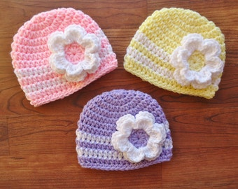 Crocheted Baby Girl Flower Hat Set, Triplet Hat Set, Choose from Pink, Lavender & Yellow, Size Newborn to 24 Months - MADE TO ORDER