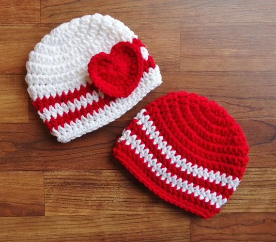 Crocheted Baby Boy/Girl Twins Valentines Day Hat Set Red