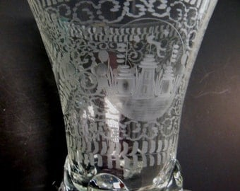 Polish Crystal Etched Footed Bowl