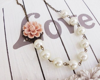 Ivory Flower Necklace - Blush Pink Flower  Necklace- Statement necklace - Bridesmaid Necklace