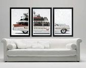 "Ghostbusters minimalistic movie car poster set, Vintage look, Ectomobile, 12""x18"""