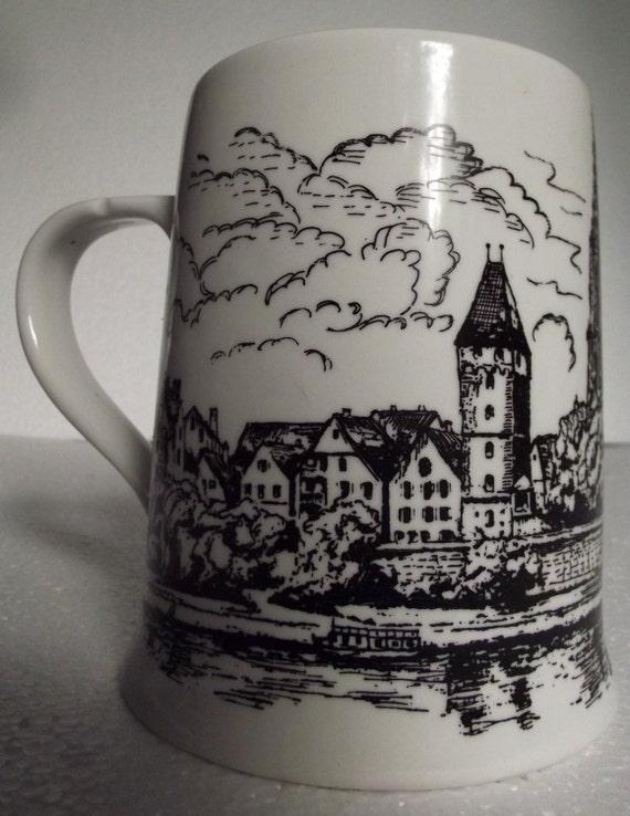 Vintage German Pottery Beer Stein Mug Ulm Landscape Dr Merkel