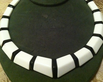 White and Black LUCITE Necklace