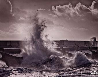 England - Brighton - Marina wave crash - Fine Art Photography Modern Wall Art in Various Sizes 8x10, 8x12, 11x14, 12x18, 16x20, 16x24
