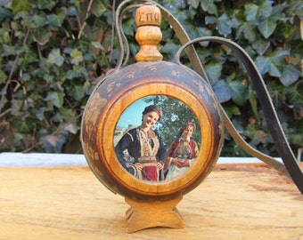 Vintage Wooden Flask - Russian Wooden Flask
