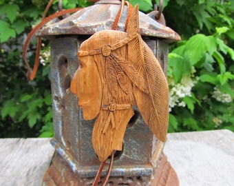 Vintage Hand Carved Wooden Indian Bolo Tie - Native American Bolo Tie - Folk art Bolo Slide