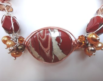 Love that Jasper, Red River, Flame, Painted, (Picture) Freshwater, Swarovski Pearls and Crystals, Sterling Silver, Copper Necklace