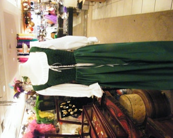 handmade renaissance fair wench maiden medieval costume  green over dress and chemise