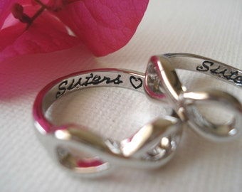 "Set of 2 Infinity Rings...silver ""Sisters with a heart"" custom engraved ring , big and little sisters ring, forever and always"