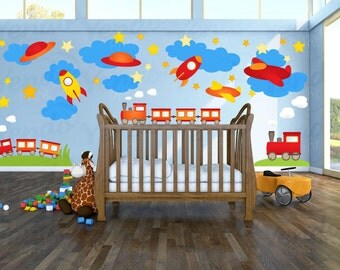 Wall Decals for Childrens Bedroom - Train Wall Decal - Transportation Wall Decal