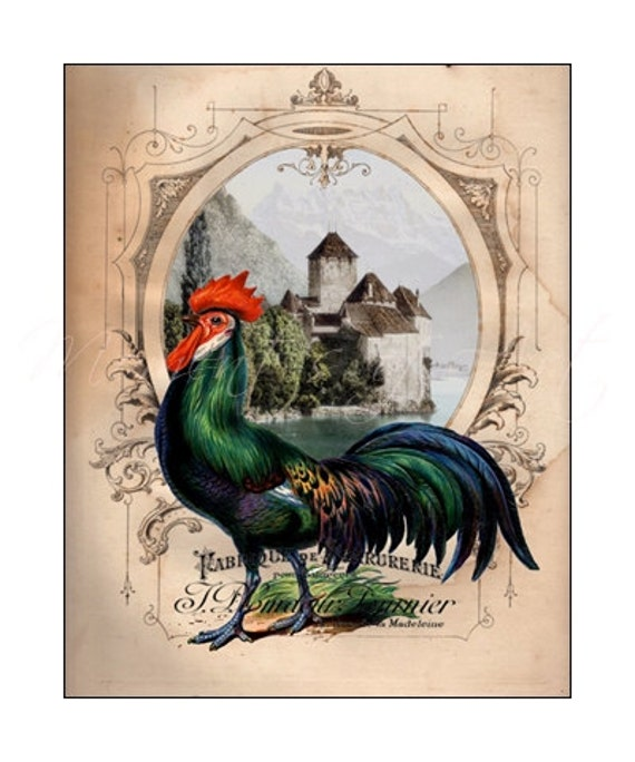 Colorful french rooster 8x10 print country decor by for French kitchen artwork