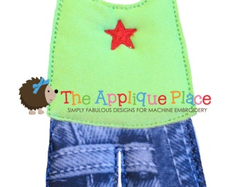 Dress Up Doll * Tank and Shorts * Paperless Unpaper Cloth doll outfit In The Hoop ITH Machine Embroidery Applique Design