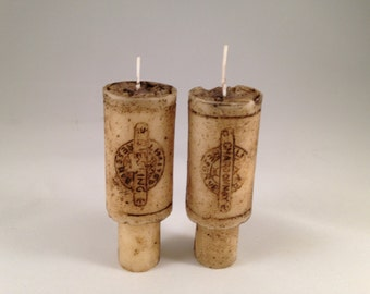 Set of 2 merlot scented wine cork candles for wine bottle decor