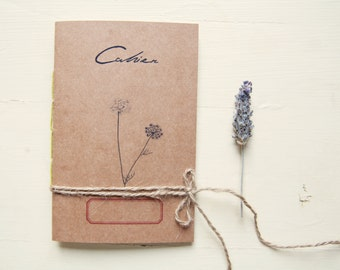 Mediterranean herbarium notebook, eco-friendly  recycled paper journal, botanical vegan notebook