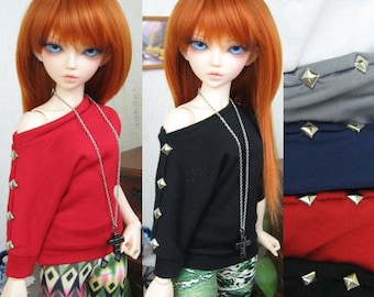 Kawkana -  Butterfly Ghotic Blouse with Metal Brads, loose fit, Tunic  for MSD, dollfie, MNF, JID, other 1/4 bjd