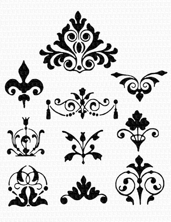 10 Decorative Damask Shapes Damask Art Borders Damask Clip