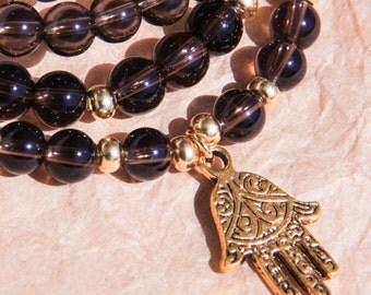 108 Mala Beads, Buddhist Necklace, Japa Mala, Yoga Jewelry, Smoky Quartz For Stress Relief & Detox