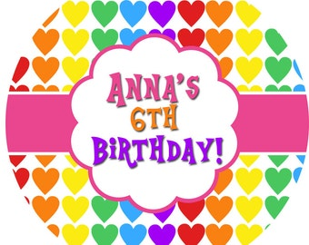 Personalized Stickers Rainbow Colors, Colorful Hearts Birthday Personalized Labels Size 2.25""