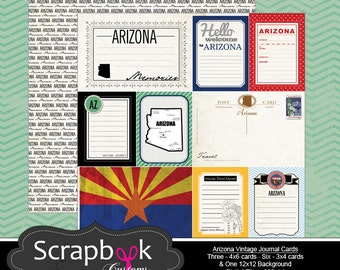 Arizona Journal Cards. Digital Scrapbooking. Project Life. Instant Download.