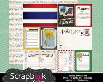 Thailand Journal Cards. Digital Scrapbooking. Project Life. Instant Download.