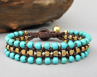 Cube Brass and Turquoise Bead Woven Bracelet  Summer 2014