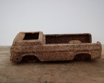 Vintage Toy Truck Shell, Metal Car, Rustic Industrial