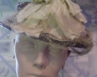 1950s Brown Straw Hat w/Beige Flowers &  Green Veil.  From The Boston Store H84