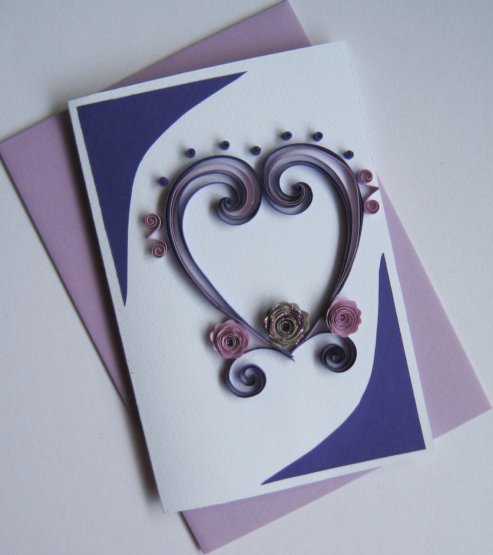 Valentine Card Quilled Handmade Greeting Card Birthday I