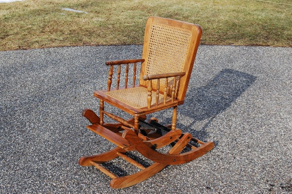 Antique Rocking Chair High Chair Antique Oak Caned Wicker