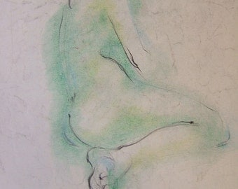 Nude, green tones, gentle, rare, early style. Copy. On acid free paper. INQUIRE ABOUT ORIGINAL  ca. 1948