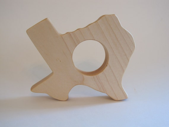 Wooden Texas State Teether - organic, safe and natural for baby