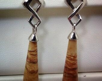 Picture jasper dangle sterling silver earrings.