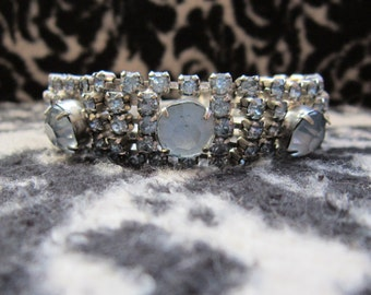 Stunning Vintage 1950's Aqua Blue Rhinestone Bracelet