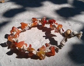 Carnelian Hemp Bracelet