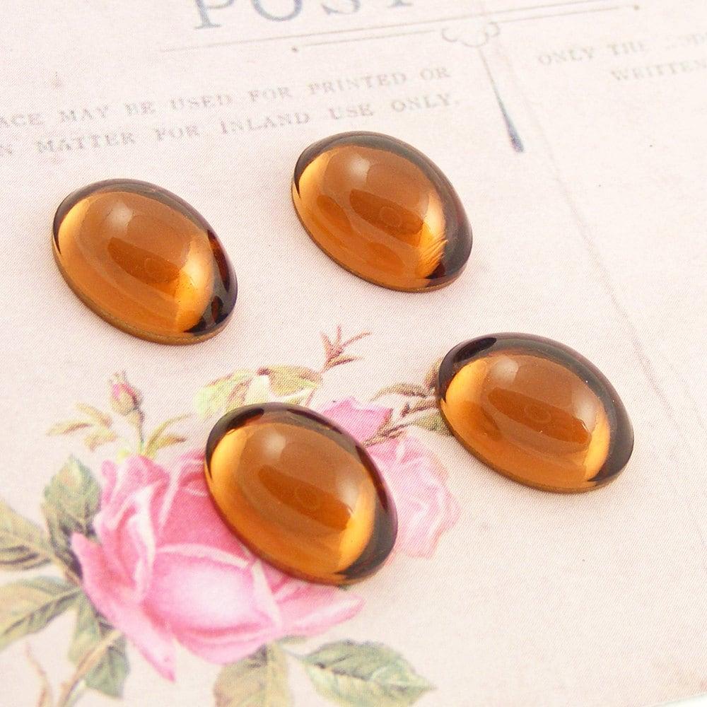 Vintage Topaz Cabochons, Swarovski Crystal, 14x10mm Ovals (4)