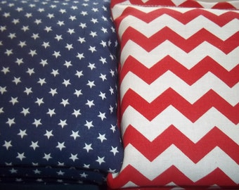 8 ACA Regulation Cornhole Bags - 4 Chevron Stripes Fabrics - Red and White - 4 Blue with Stars
