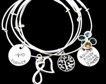 Design Your Own bracelet Bangle / Stackable Bangles / Choose Your Own Charms / Silver Bracelets