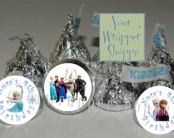 108 Personalized Frozen Party Favors Kiss Labels Stickers Supplies