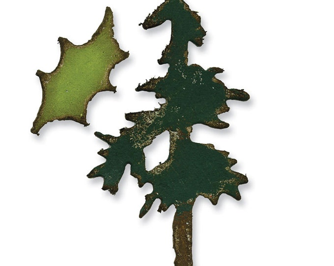 Tim Holtz Sizzix Movers and Shapers Magnetic Die Set - Mini Pine Tree & Holly (657472)