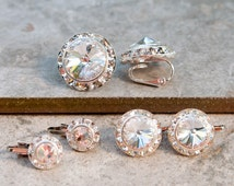 Clip on earrings, clear crystal, 3 sizes, silver finish, Swarovski crystal rondelle earring