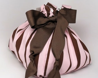 Pink and Brown Stripes - Choice of Size - Plum Creek Project Bag (P-003)